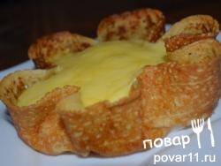 Тарталетки из блинчиков с ветчиной и сыром